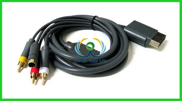AV Audio Video A/V + S-Video Cable Cord for Microsoft Xbox360 Game Console