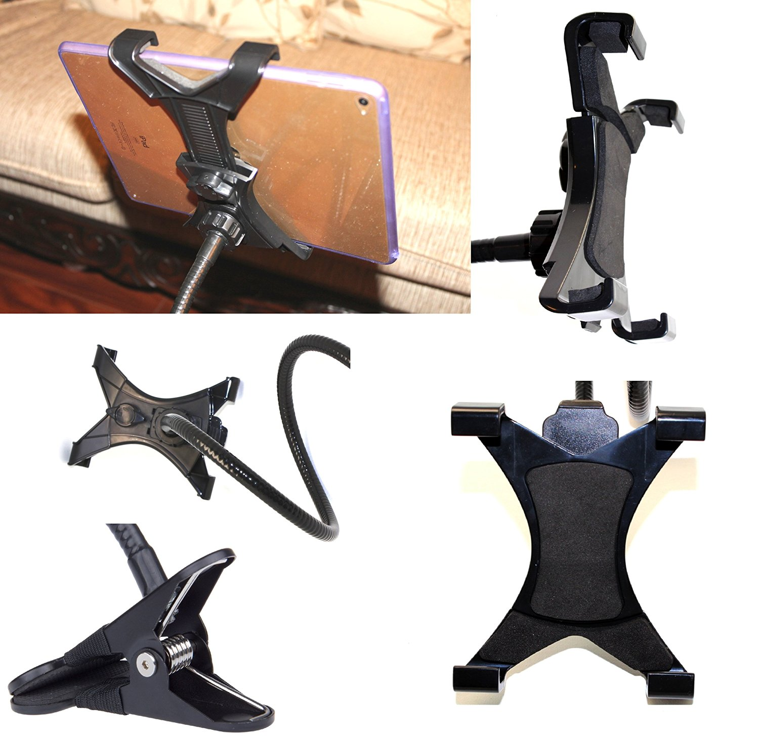 [USbuyForLess USA] Tablet Lazy Man Flexible 360 Degrees Rotating Desktop Stand Lazy Bed Tablet Holder Mount Gooseneck Desk Stand Clamp Mount Bed Stand Bracket Holder for iPad Air 2 Air Mini 2 Mini 3 Samsung Galaxy Note & All Other Tablets Fully Adjustable ((BLACK) Gooseneck Clamp)