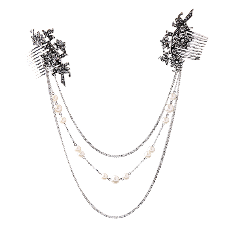 Retro leaves flower inserted comb female elegance pearl <strong>hair</strong> <strong>accessories</strong> dress <strong>accessories</strong>