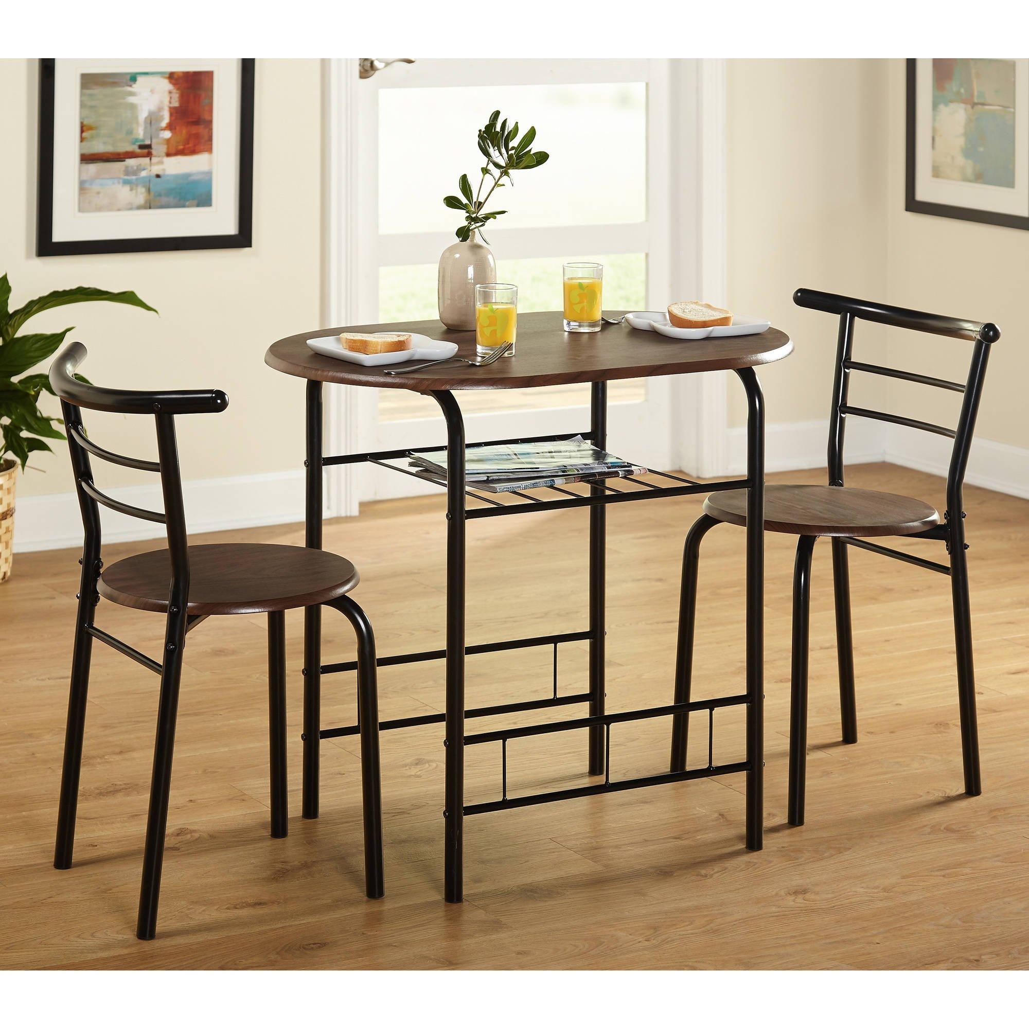 Get Quotations · Kissmoji 3 Piece Dining Set Breakfast Bar Kitchen Table Chairs  Furniture (Black)