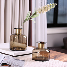 High quality factory price clear light brown glass vases for wedding gifts