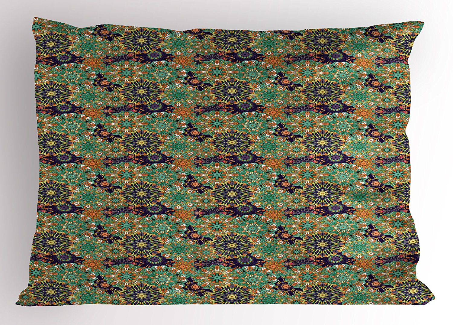Mandala Pillow Sham by Lunarable, Vintage Composition of Flowers with Abstract Petals Middle Eastern Arrangement, Decorative Standard Size Printed Pillowcase, 26 X 20 Inches, Multicolor
