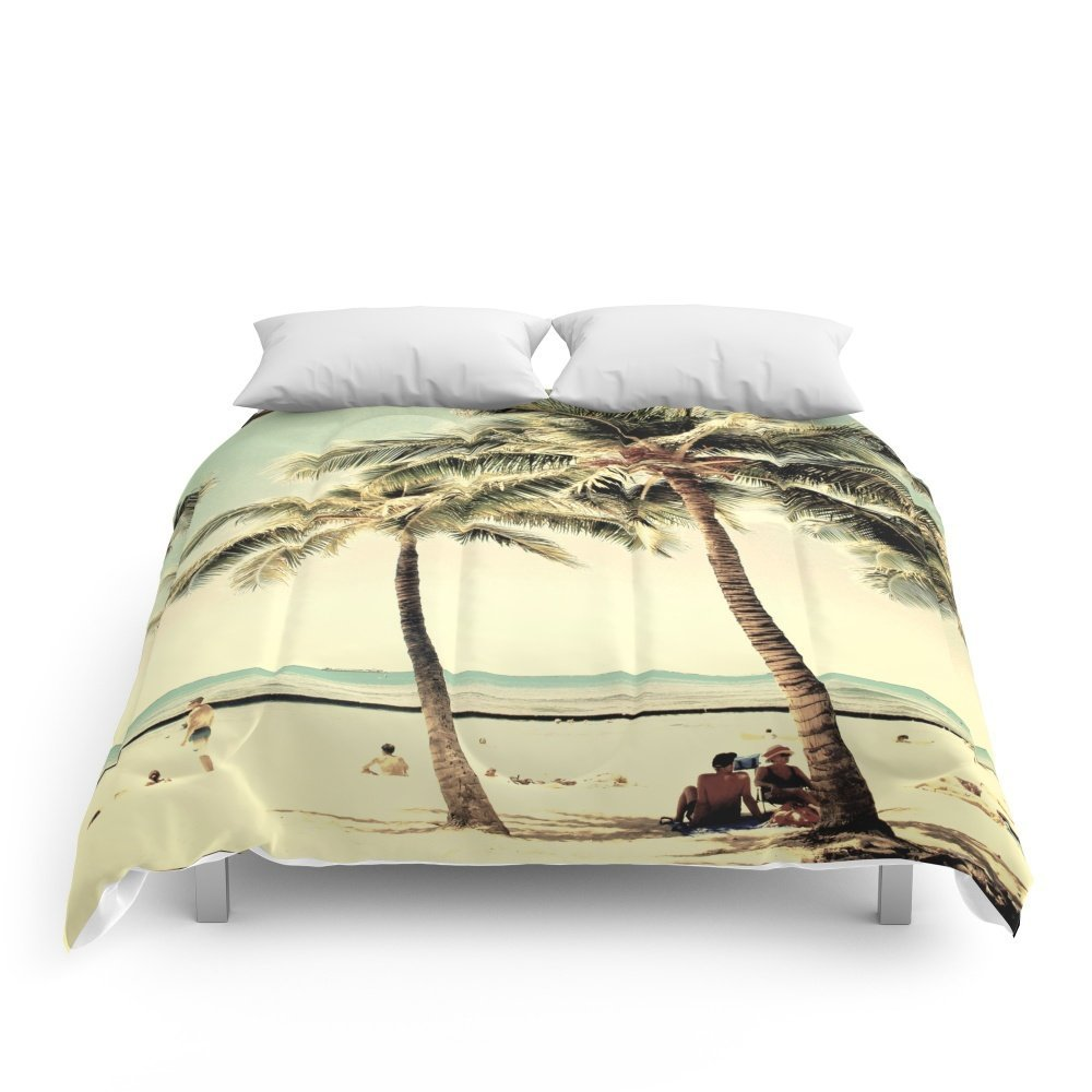 "Society6 Retro Vintage Palm Tree With Hawaii Summer Sea Beach Comforters Full: 79"" x 79"""