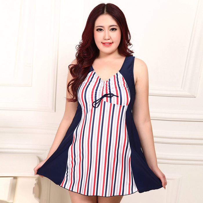 90508bff91 Get Quotations · Free Shipping New Fashion Red Stripe Swimwear Large Size  Swimsuit Top Quality One Piece Fat Swiming
