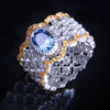 italian design 925 silver rings, lastest fashion blue sapphire rings, CZ stylish rings for men and women