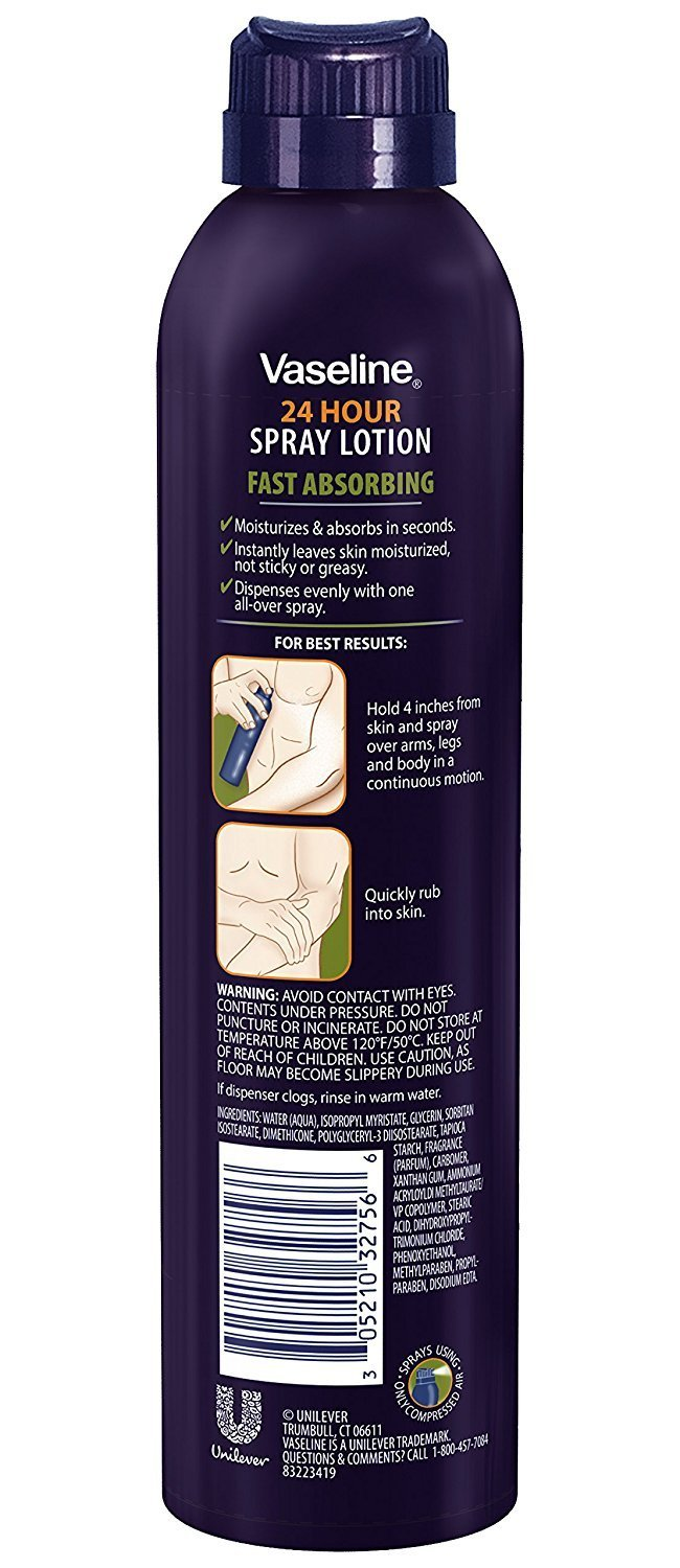Vaseline Men Spray and Go Body Lotion Fast Absorbing Spray, 6.5 Ounce (Pack of 3)