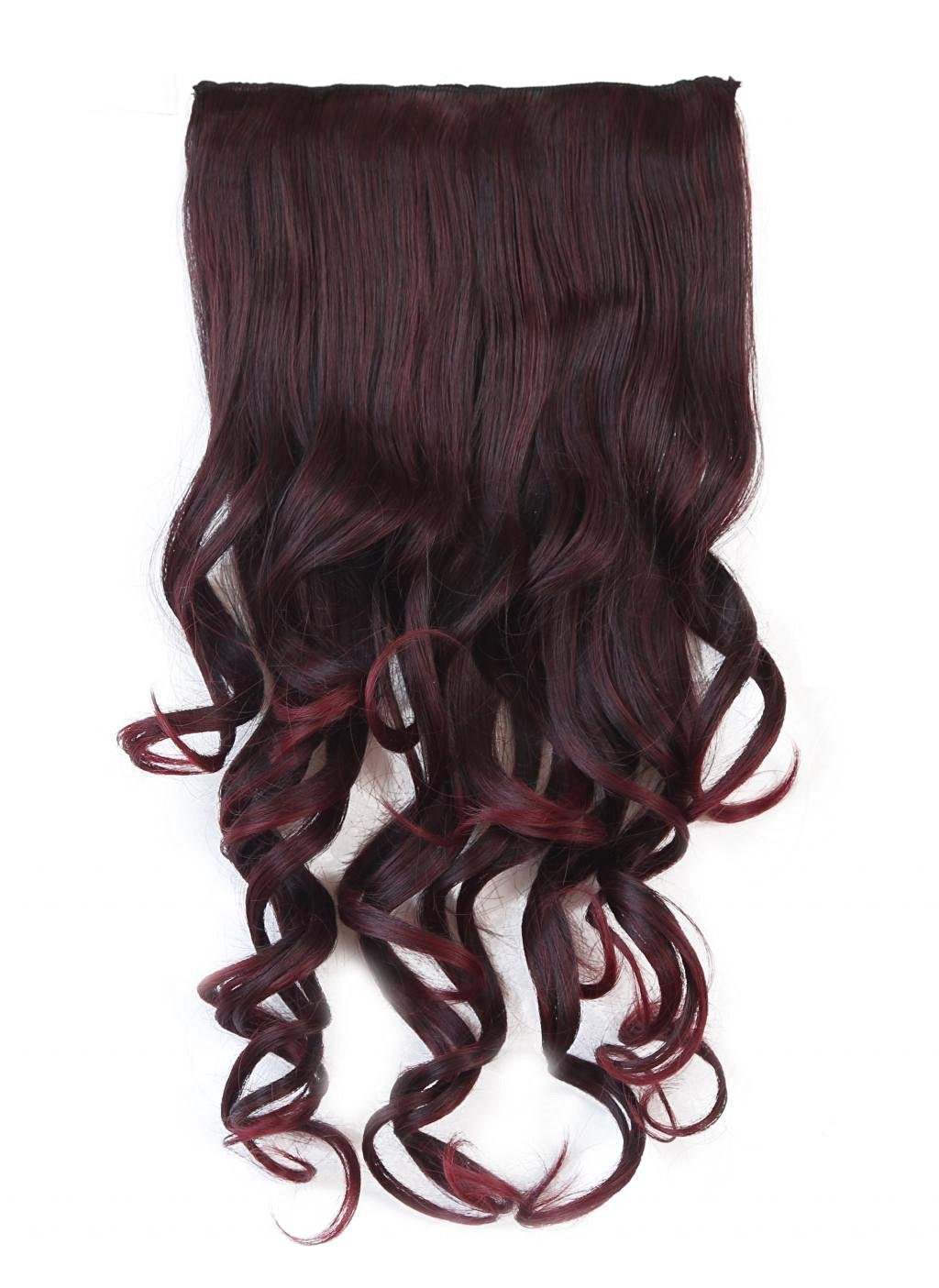 LOUISE MAELYS One Piece Long Curly Hair Extension Wavy Wig 5 Clips Hairpiece Wine Red