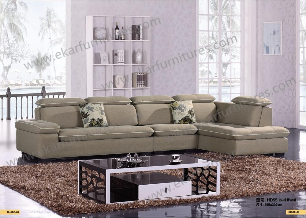 Amerikaanse ontwerpen moderne l vorm fancy sectionele stof sofa set meubels woonkamer sofa - Meubels set woonkamer eetkamer ...