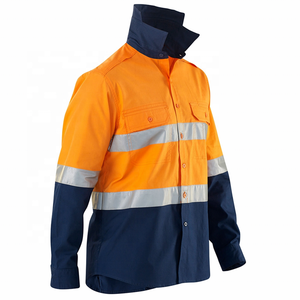 100 % cotton safety hi vis work shirt from BSCI factory