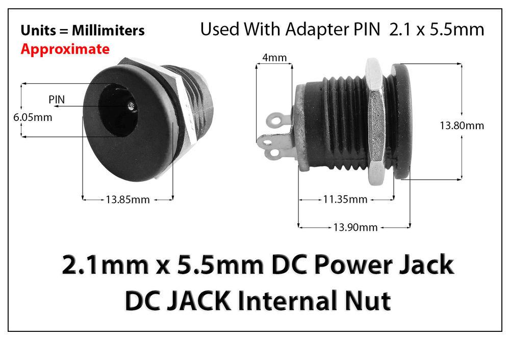 2 1mm X 5 5mm Male Female Dc Power Plug Socket Jack