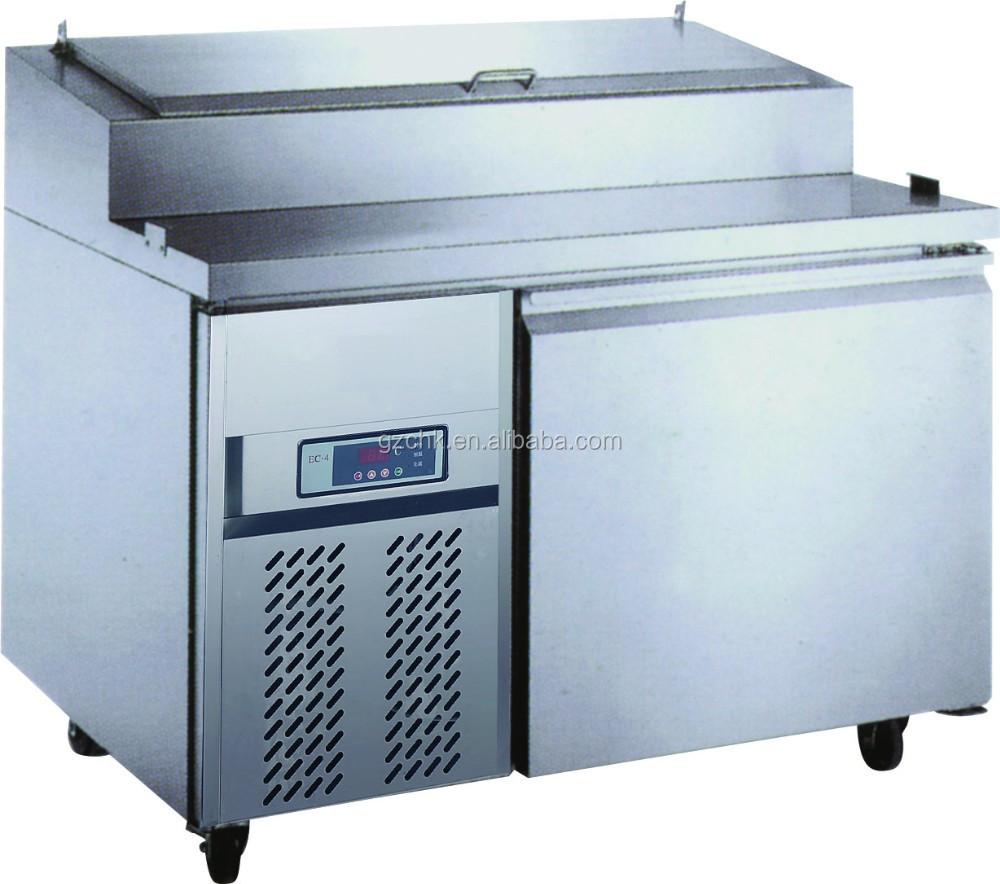 Pizza preparation working table for restaurant/single door refrigerator with upper GN pan