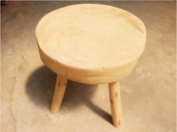 Contemporary imbottita rotonda poggiapiedi con gambe in legno