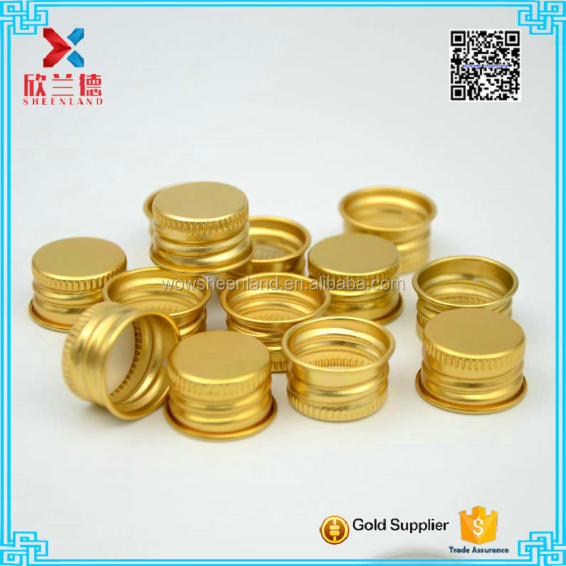 24mm golden aluminum metal cap for test tubes screw cap lid
