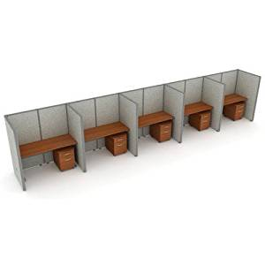 """X5 Privacy Station Panel System 1x5 Configuration Size: 47"""" H x 36 - 197.5"""" W, Panel Color: Gray Polycarbonate, Top Finish: Maple"""