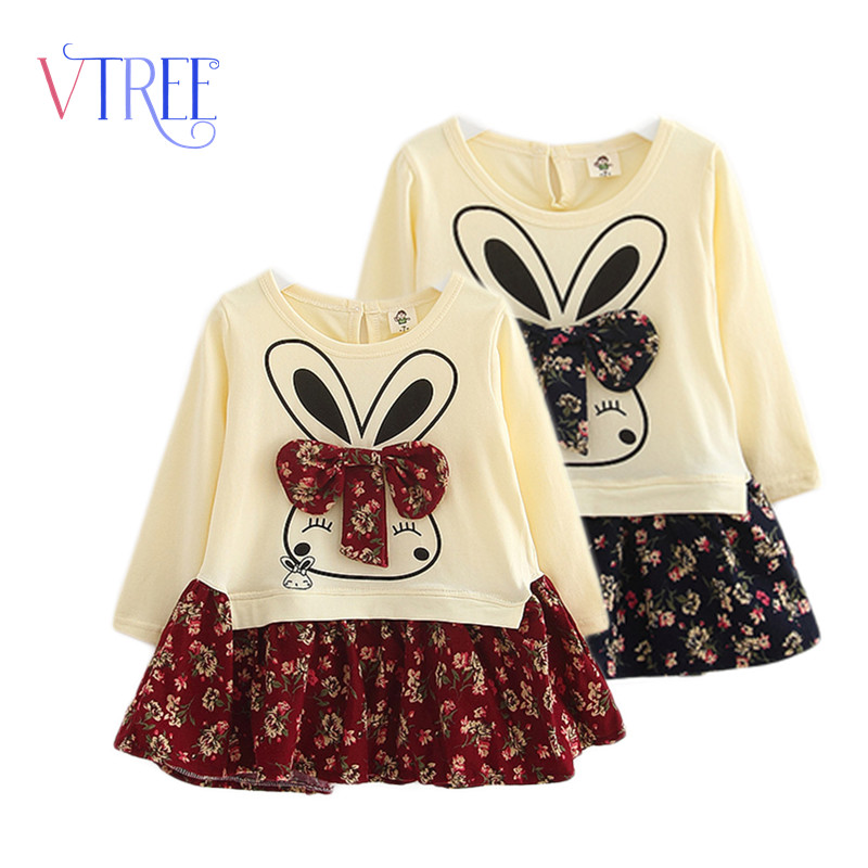 2016 spring long sleeve font b dress b font for girls cartoon rabbit font b dress