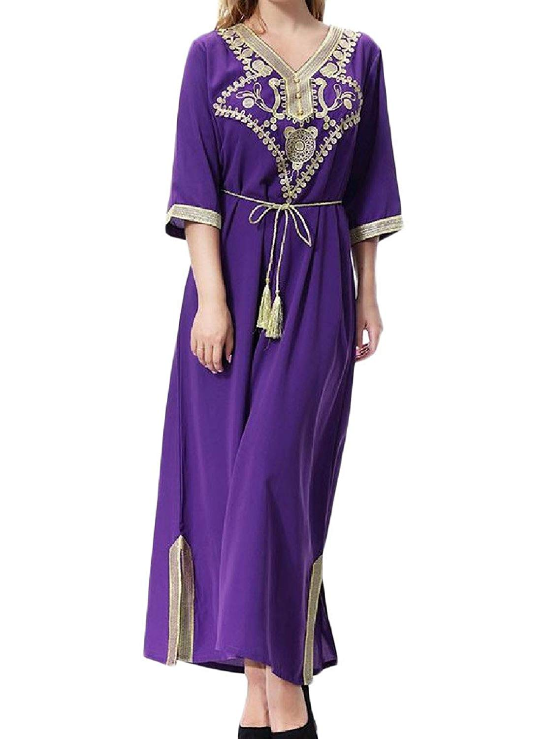 SHOWNO Women Lace Middle East Loose Muslim Long Sleeve Cardigan Robes Maxi Dress