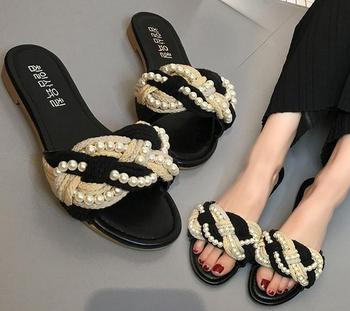 1a7f2a50d Summer Woman Dress Flat Shoes Lady Elegant Fancy Pearl Sandals - Buy ...