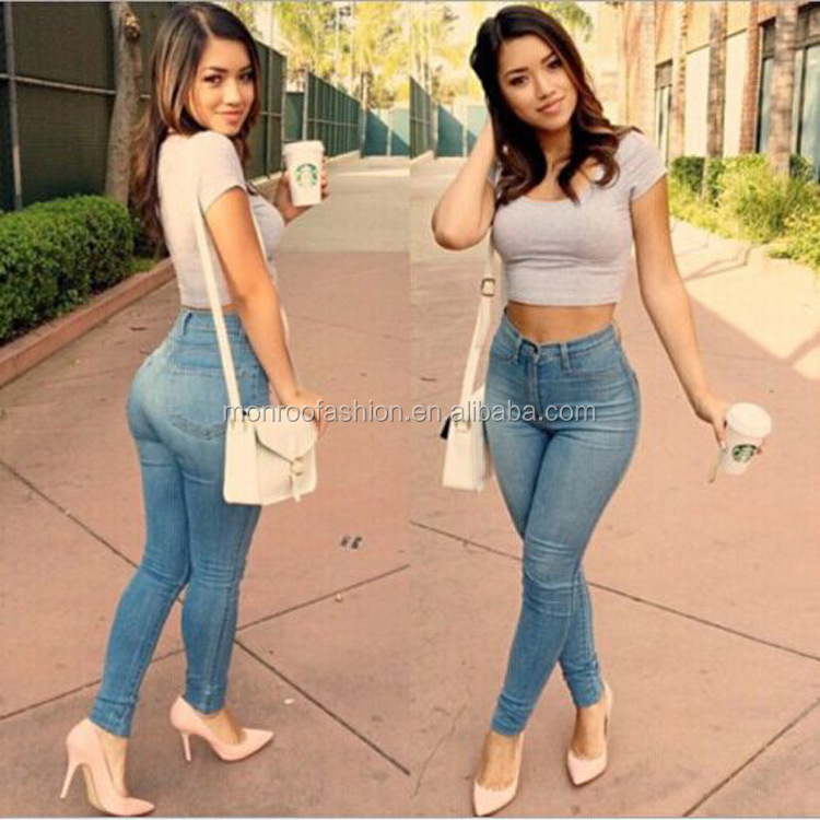 Monroo Hot sale latest jeans new model jeans pants elegant causal slim fit long jeans women