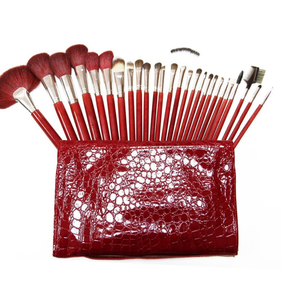 2015 New Professional 26 pcs Makeup Brushes Set High Quality Goat &Horse &Mix Hair Fashion Red Cosmetic Make Up Brushes Tools