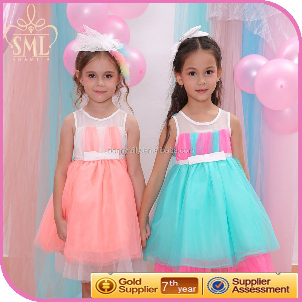 Fresh Color Patchwork Girl First Communion Dress,Latest Kids Fashion Show Dresses
