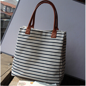 2015 high quality costomized fashionable cheap tote bag canvas with leather handle
