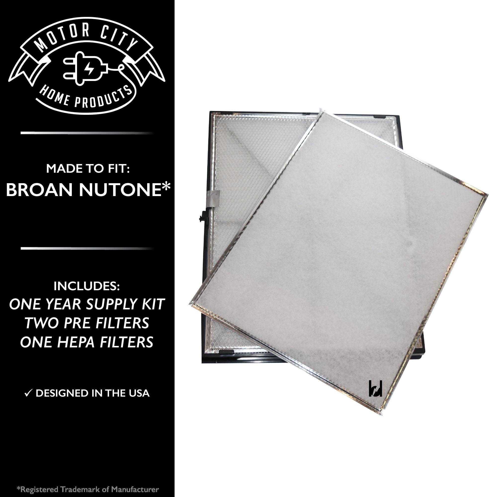 Broan Nutone GSFH1K ACCGSFHP2 Compatible Aftermarket Air Purifier 1 Year Supply Kit Filter Replacement Parts. Includes 2 Pre & 1 HEPA Filters; Motor City Home Products Brand (1)