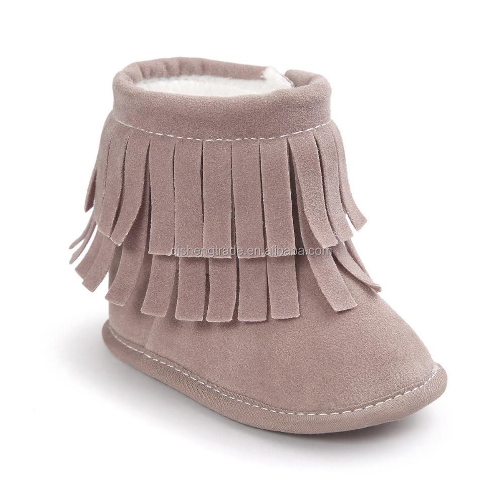 1 Paar Baby Schuhe Krippe Neugeborene MäDchen Warme Fransen Quaste Stiefeletten