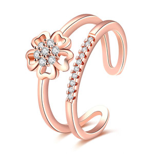 18K open flower rose gold cz ladies finger rings