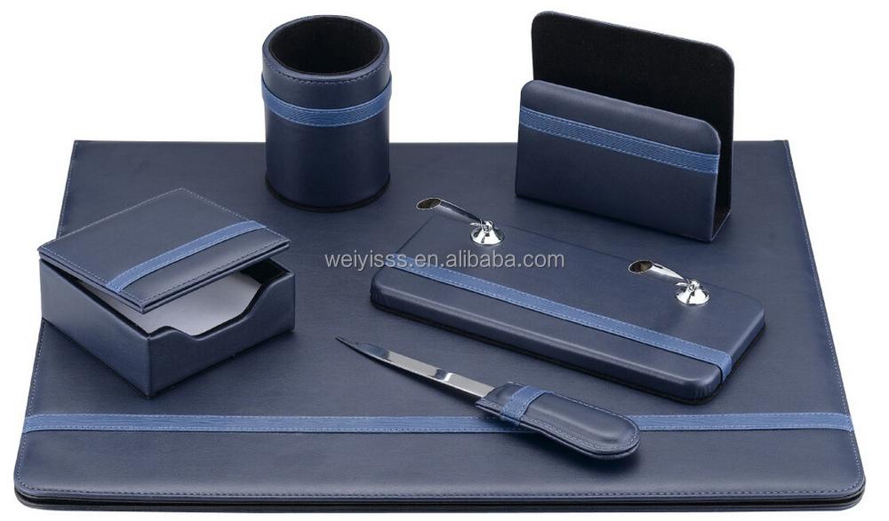 fantaisie noir 5 pe as faux en cuir de luxe bureau bureau organisateur lot de fourniture bureau. Black Bedroom Furniture Sets. Home Design Ideas