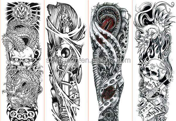 vollen arm tattoo aufkleber gro e blume schulter fake. Black Bedroom Furniture Sets. Home Design Ideas