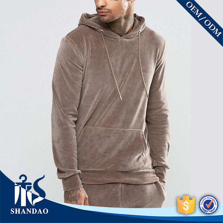 Guangzhou Shandao High Quality Manufacture Casual Mens Long Sleeve Pullover Plain Brown Soft Velour Hoodie