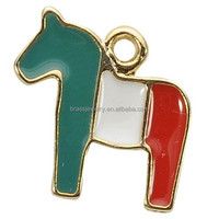 Small Trendy Eco-Friendly New Design Cheap Horse Shape Oil Dripped Pendant Findings on Line