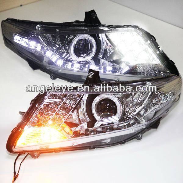 For HONDA City LED Angel Eyes Head Lamp 2008 to 12 year Silver Color V2