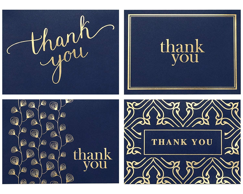 Custom 36pcs 48pcs 100pcs Gold Foil Thank You Card with envelope