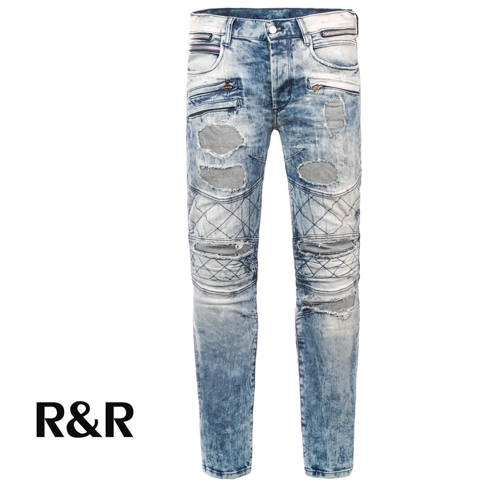 d3b3217184a5 2017Mens Jeans Black Denim Pants Biker Moto Skinny Ripped Destroyed Distressed  skinny Fit zipper pockets rock star Denim Jeans