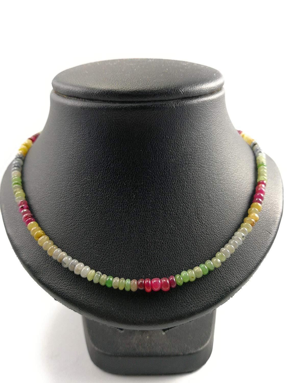 Multi Colored Sapphire Necklace,Natural sapphire necklace,Sapphire Necklace,multi color sapphire necklace jewelry,Real sapphire necklace,September Birthstone, - Size 16,18