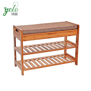 2- Tier Bamboo Wooden Shoe Rack with Cushion Upholstered Padded Seat Storage Bench Shelf