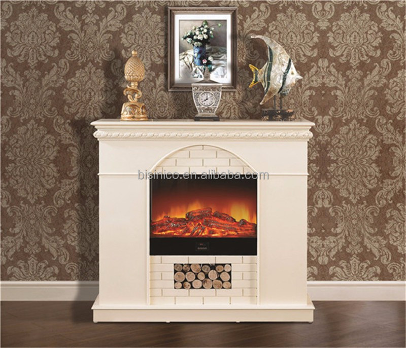 Victorian Style Electric Fireplace with Faux Wood Decoration, Room Space Heater
