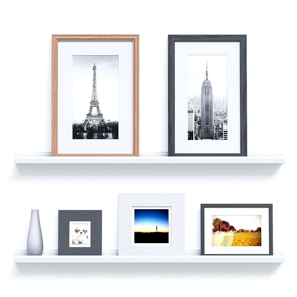 Dtemple Modern Wall-Mounted Floating Ledge Display Wall Shelf Storage for Photo Picture Frames Book, Floating Wall Photo Ledge Shelves (US STOCK) (White, Small-60CM)