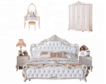 White Traditional European Style Bedroom Furniture Set