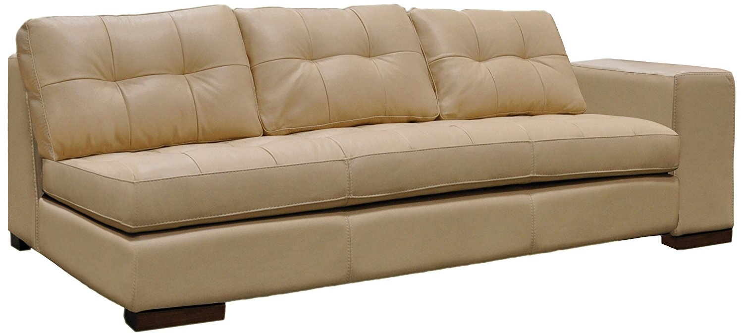 Omnia Leather Peninsula Right Arm 1 Cushion Sofa in Leather, Honey Oak Legs, Softstations White Winter