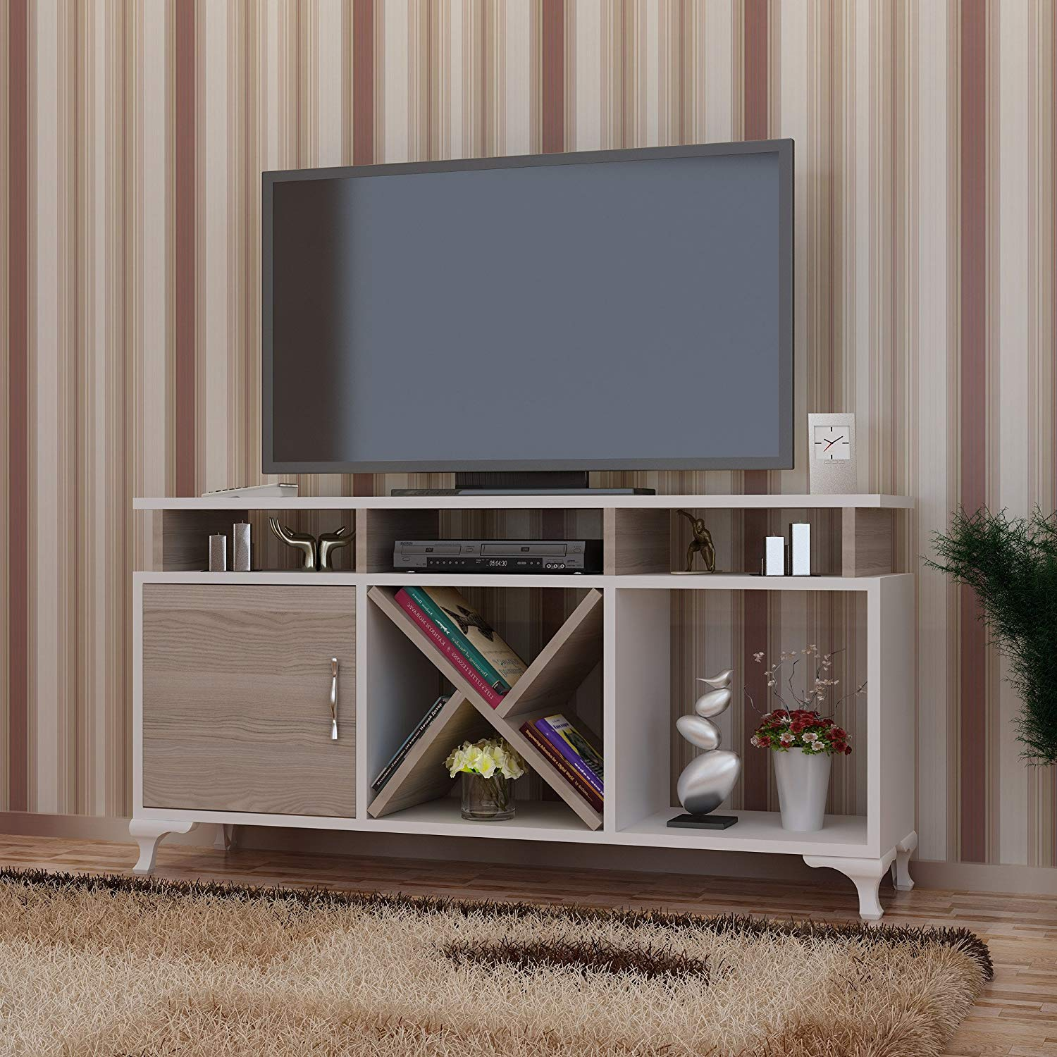 Buy Lamodahome Tv Stand Unit Design Modern Geometrical Brown Simple Plain Straight Stand Storage Multi Function Organize House Decor Desk Unit Furniture For Home Office Living Room In Cheap Price On Alibaba Com