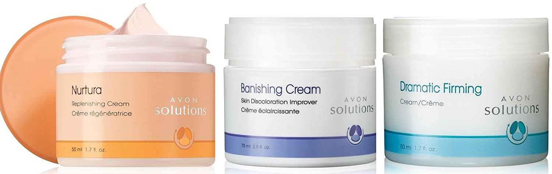 Avon Skin Solutions Three Piece Set of Dramatic Firming Cream, Nurtura Replenishing Cream, Banishing Cream Skin Discoloration Improver