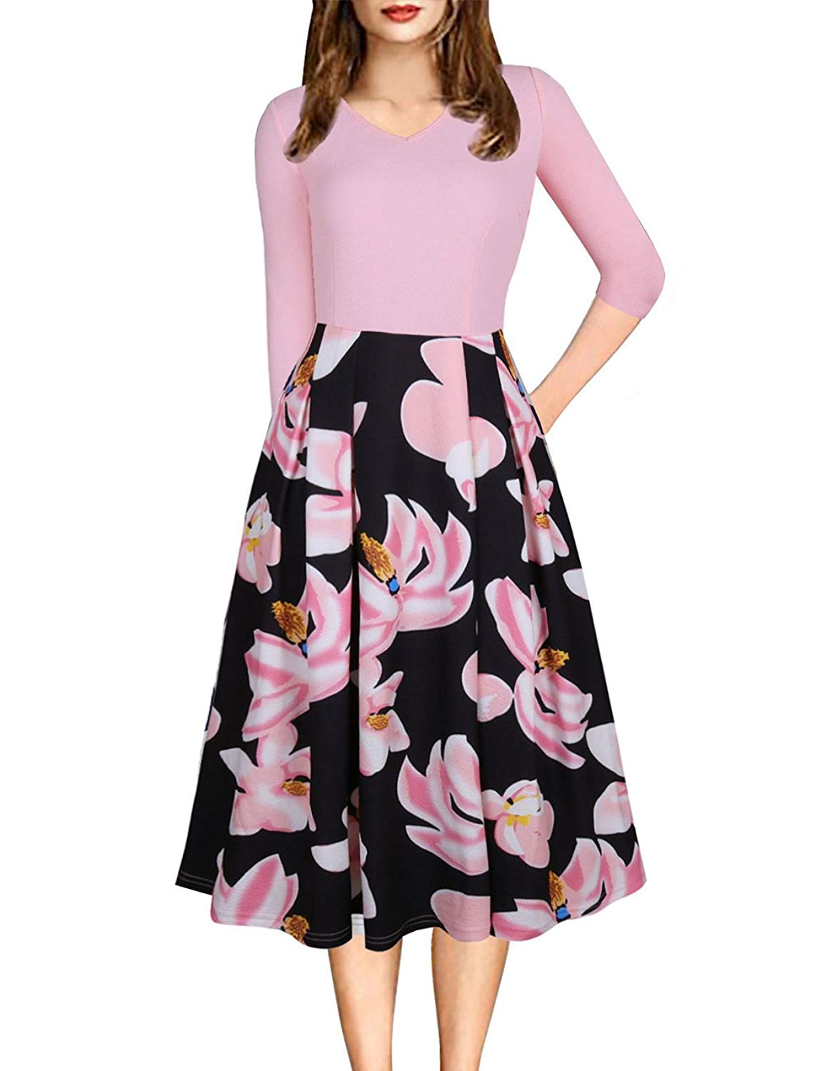 2ba30568f9 Get Quotations · Defal Womens Vintage 3 4 Sleeve Bohemia Floral Midi  Patchwork Dress Puffy Swing Casual Party