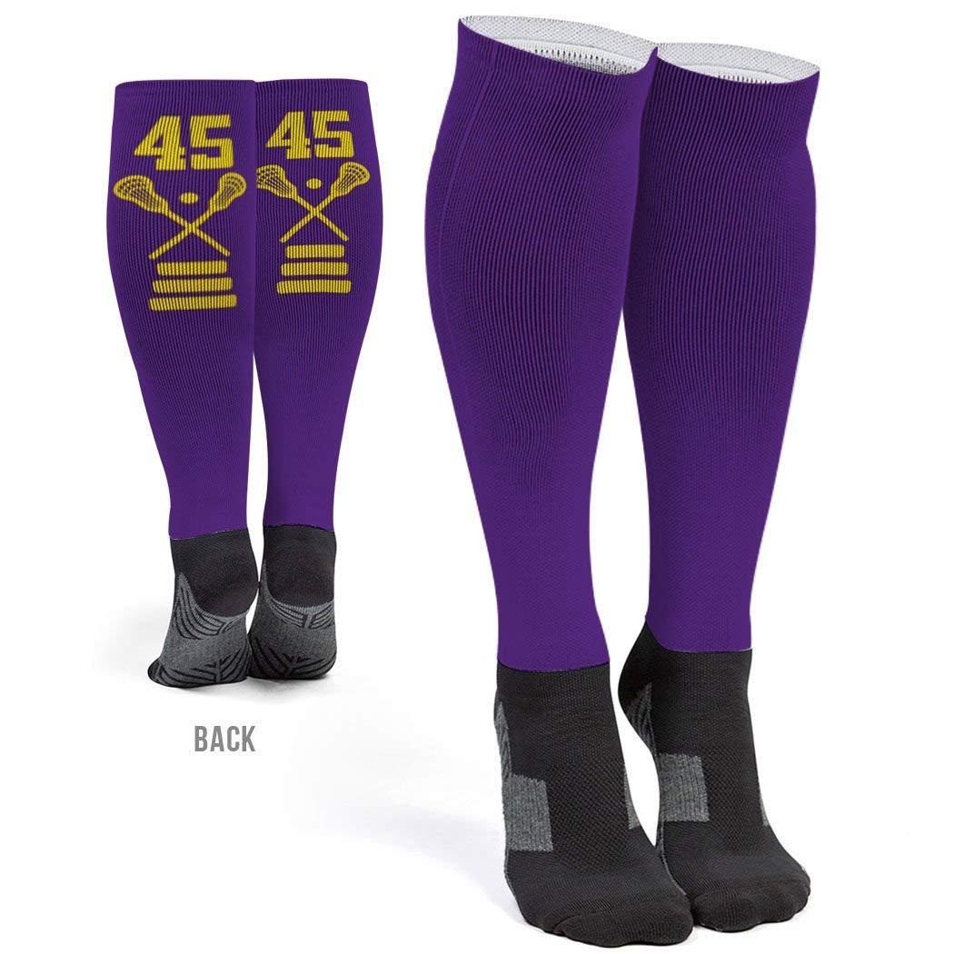Personalized Girls Lacrosse Printed Knee-High Socks | Custom Team Number | Assorted Colors | Multiple Sizes