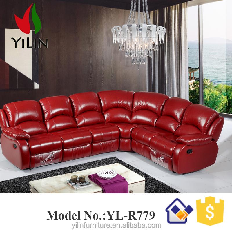 Foshan fábrica de muebles sala eléctrica de color rojo cuero ...