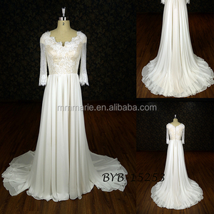 Custom Made off Shoulder Full Of Exquisite Appliqued 3/4 Sleeve A line wedding dress with long tail