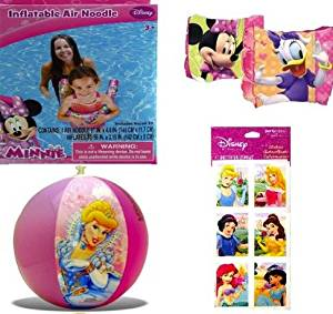 "4-piece Minnie Mouse and Princess Inflatable Pool Toys Set: Disney Princess Beach Ball (16""), Minnie Mouse Swim Noodle (56"" X 3.1""), Minnie Mouse Arm Floaties (7""), and Disney Princess Stickers Set (3""x6"" - 4 Sheets - $3.99 Value) - Great Disney Pool Party Supplies and Favors for Girls"