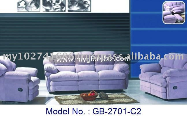 Purple Colour Modern Recliner Sofa Set Of Leather In 1+2+3 For Home Indoor Living Room Furniture