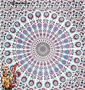 Mandala Peacock Tapestry Floral Indian Wall Hanging Hippie Throw Indian Bedsheet Wall Decor Sofa Table Coverlet Hippy Mandala Twin Bedsheet